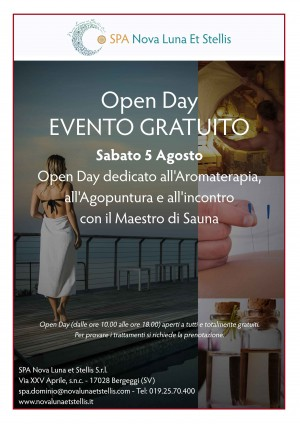 5 agosto: Open Day dedicato all'Aromaterapia, all'Agopuntura e al Maestro di Sauna
