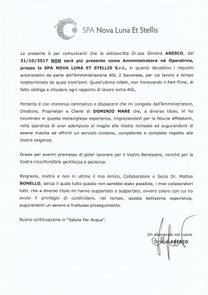 Lettera della Dr.ssa Simona Aresco