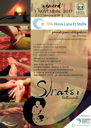 3 novembre: TRATTAMENTI SHIATSU GRATUITI per i clienti della SPA