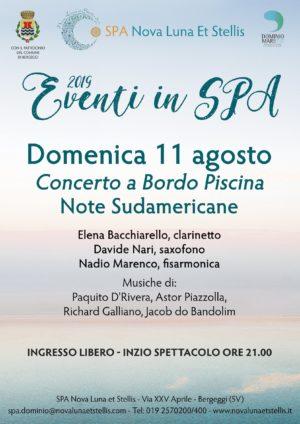 """Domenica 11 agosto per la rassegna """"Concerti a Bordo Piscina"""": """"Note Sudamericane"""""""